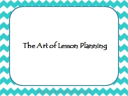 The Art of Planning a Lesson