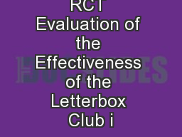 RCT Evaluation of the Effectiveness of the Letterbox Club i