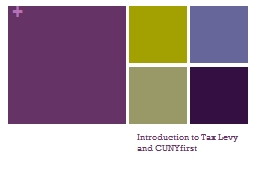 Introduction to Tax Levy and