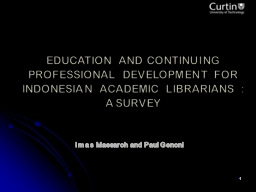 1 EDUCATION AND CONTINUING