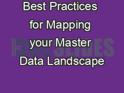 Best Practices for Mapping your Master Data Landscape