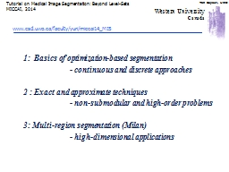 1:  Basics of optimization-based segmentation PowerPoint PPT Presentation