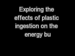 Exploring the effects of plastic ingestion on the energy bu PowerPoint PPT Presentation