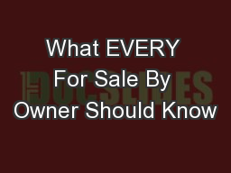 What EVERY For Sale By Owner Should Know