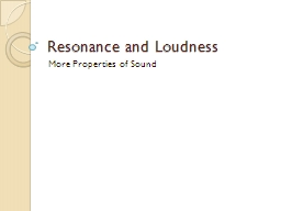 Resonance and Loudness