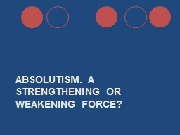 Absolutism. A Strengthening or weakening force? PowerPoint PPT Presentation