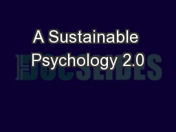 A Sustainable Psychology 2.0