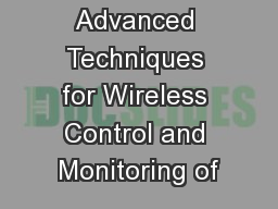 Advanced Techniques for Wireless Control and Monitoring of PowerPoint PPT Presentation