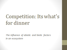 Competition: Its what's for dinner