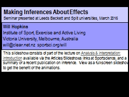 Making Inferences About Effects
