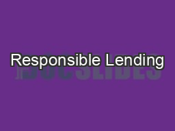 Responsible Lending PowerPoint PPT Presentation