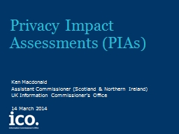 Privacy Impact Assessments (PIAs) PowerPoint PPT Presentation