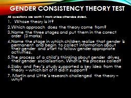 Gender consistency theory test