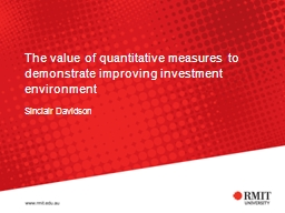 The value of quantitative measures to demonstrate improving PowerPoint PPT Presentation