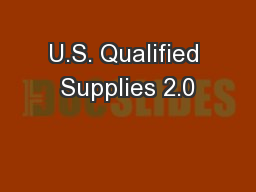 U.S. Qualified Supplies 2.0