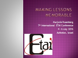Making lessons memorable PowerPoint PPT Presentation
