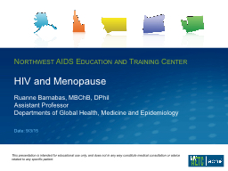 HIV and Menopause PowerPoint PPT Presentation
