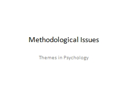 Methodological Issues PowerPoint PPT Presentation