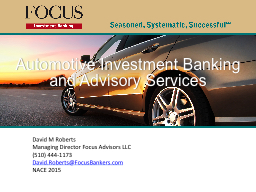 Automotive Investment Banking PowerPoint PPT Presentation