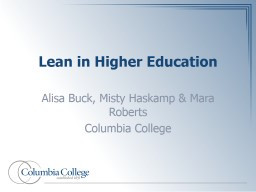 Lean in Higher Education PowerPoint PPT Presentation