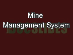 Mine Management System