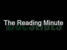 The Reading Minute PowerPoint PPT Presentation