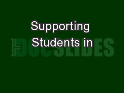 Supporting Students in