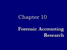 Forensic Accounting Research