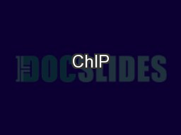 ChIP PowerPoint PPT Presentation