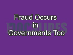 Fraud Occurs in Governments Too