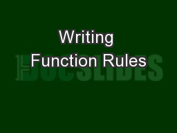 Writing Function Rules