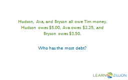 Hudson, Ava, and Bryson all owe Tim money. Hudson owes $5.0 PowerPoint PPT Presentation