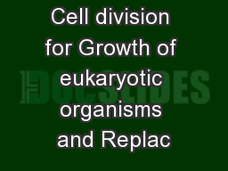 Cell division for Growth of eukaryotic organisms and Replac