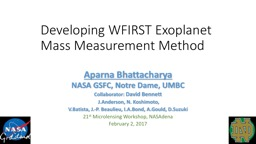 Developing WFIRST Exoplanet Mass PowerPoint PPT Presentation