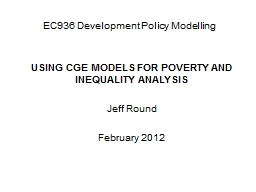 EC936 Development Policy Modelling