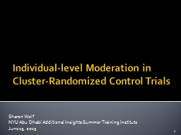 Individual-level Moderation PowerPoint PPT Presentation