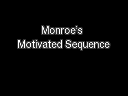 Monroe's Motivated Sequence PowerPoint PPT Presentation