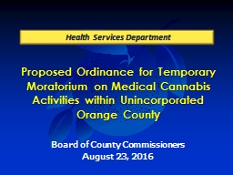 Proposed Ordinance for Temporary Moratorium on Medical Cann