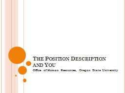 The Position Description and You PowerPoint PPT Presentation