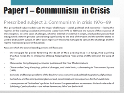 Paper 1 – Communism in Crisis PowerPoint PPT Presentation