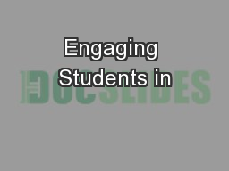 Engaging Students in PowerPoint PPT Presentation