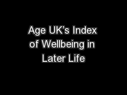 Age UK's Index of Wellbeing in Later Life