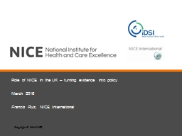 Role of NICE in the UK – turning evidence into policy
