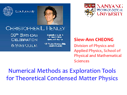 Numerical Methods as Exploration Tools for Theoretical Cond