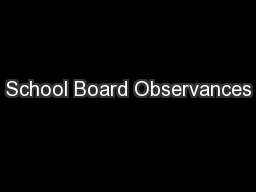 School Board Observances