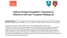 Optimal Timing of Hepatitis C Treatment for Patients on the