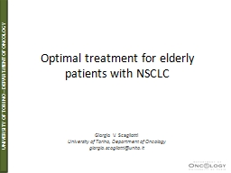 Optimal treatment for elderly patients with NSCLC