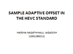 SAMPLE ADAPTIVE OFFSET IN THE HEVC STANDARD
