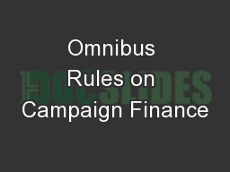 Omnibus Rules on Campaign Finance
