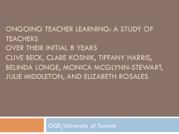 ONGOING TEACHER LEARNING: A STUDY OF TEACHERS PowerPoint PPT Presentation